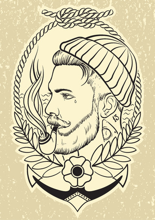 tattooed: Hand drawn portrait of bearded and tattooed sailor with tobacco pipe. Illustration