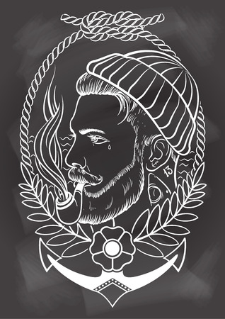 tattooed: Hand drawn portrait of bearded and tattooed sailor with tobacco pipe. In chalkboard background. Illustration