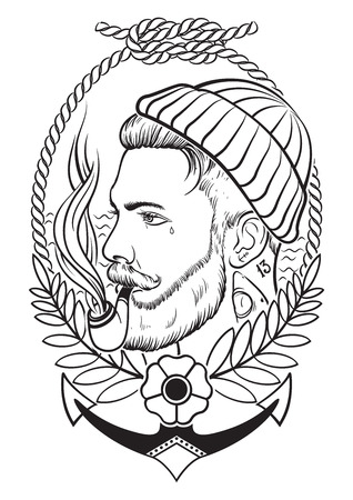 Hand drawn portrait of bearded and tattooed sailor with tobacco pipe. Иллюстрация