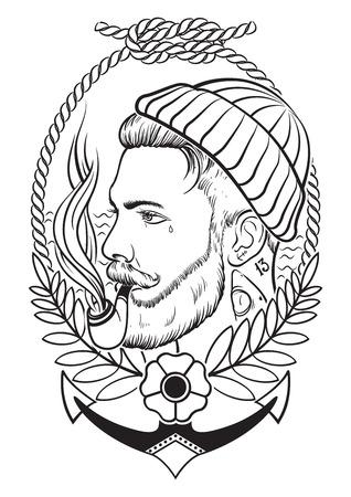 marinero: Mano retrato dibujado de marinero barbudo y tatuado con el tubo de tabaco.