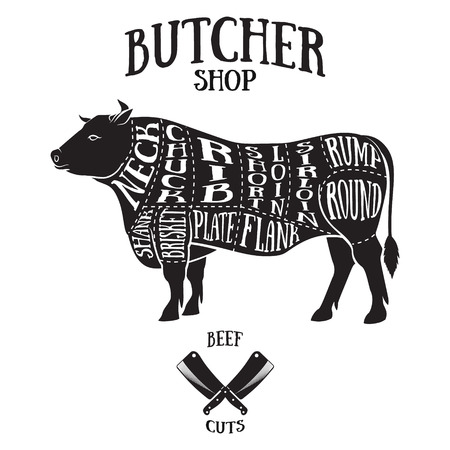 butchers: Butcher cuts scheme of beef.Hand-drawn illustration of vintage style