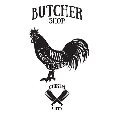 Slager snijdt schema van chicken.Hand getekende illustratie van vintage stijl