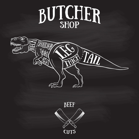 Butcher cuts scheme of dinosaur.Hand-drawn illustration of vintage style