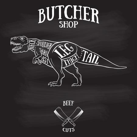 Butcher cuts scheme of dinosaur.Hand-drawn illustration of vintage style