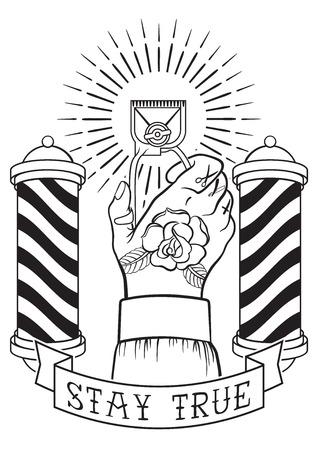 peluquero: Dibujado a mano mano del dise�o de la vendimia con un tatuaje rosa, m�quina de corte de pelo, poste de barber�a, quemaduras de sol y la cinta con la inscripci�n-Stay True.