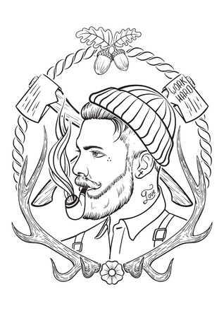 Hand drawn portrait of bearded and tattooed lumberjack with tobacco pipe.