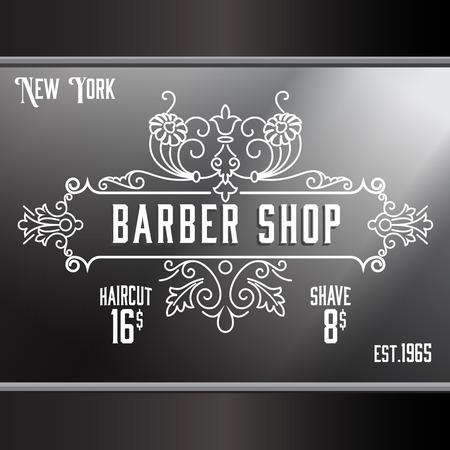 Vintage barber shop window advertising design template. Elegant line art and flourishes ornament for hair salon, barbershop. Illustration