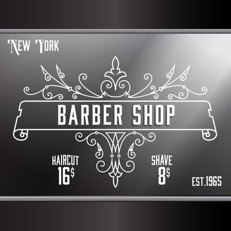 Vintage barber shop window advertising design template. Elegant line art and flourishes ornament for hair salon, barbershop. 일러스트