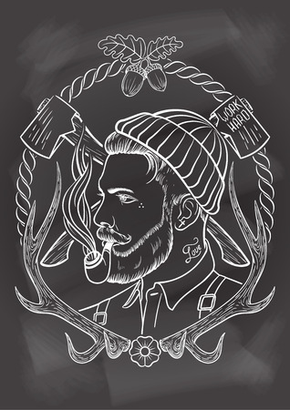 tattooed: Hand drawn portrait of bearded and tattooed lumberjack with tobacco pipe. In chalkboard background.