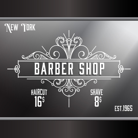 hair ornament: Vintage barber shop window advertising design template. Elegant line art and flourishes ornament for hair salon, barbershop. Illustration