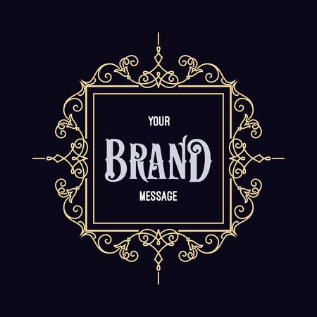 Vintage Label Template. Retro ontwerp voor uitnodigingen, posters, badges, Logos en andere design. Bloeit kalligrafische.