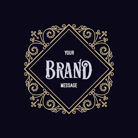 Vintage label sjabloon. Retro ontwerp voor Uitnodigingen, Posters, Badges, Logotypes en ander ontwerp. Bloeit kalligrafisch. Stock Illustratie