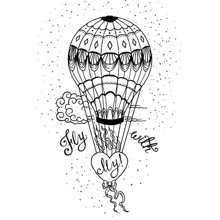 home product: Hand drawn lettering poster. Fly With My Love - inspirational quote. Vector hand drawn typography design for T-shirt design,home decor element or other product. Illustration