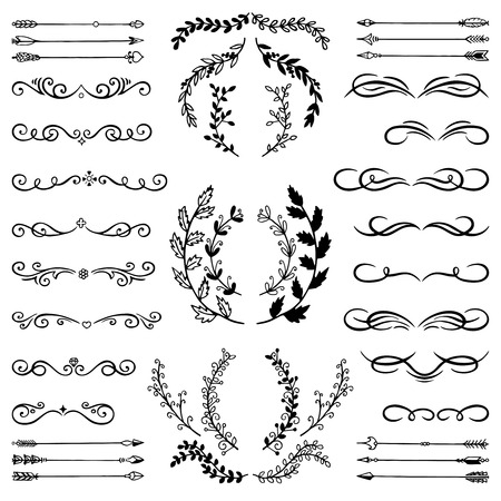 Set of Doodle Design Elements. Hand Sketched decorative Branches, Floral Dividers, Swirls, Scrolls and Arrows on isolated background. Vintage style Illustration.