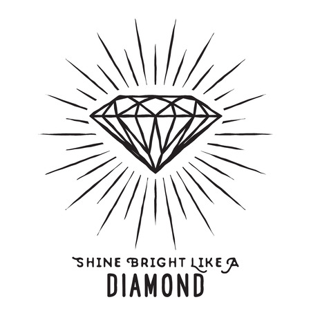 Hand drawn lettering poster. Shine bright like a diamond - inspirational quote. Vector hand drawn typography design for T-shirt design,home decor element or other product.  イラスト・ベクター素材