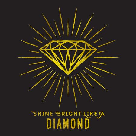 Hipster-Stil Raute auf Sternlicht mit Zitat -Shine hell wie ein diamond.Golden Folie Textur.