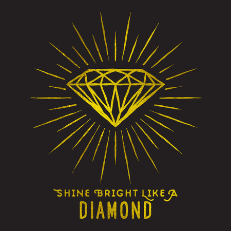 shine: Hipster style of diamond shape on star light with quote -Shine bright like a diamond.Golden foil texture. Illustration