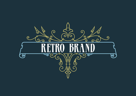 Vintage Label Template. Retro design for Invitations, Posters, Badges, Logotypes and other design. Flourishes calligraphic. 일러스트