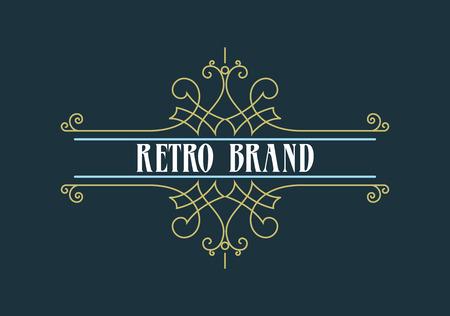 Vintage Label Template. Retro design for Invitations, Posters, Badges, Logotypes and other design. Flourishes calligraphic. Ilustração