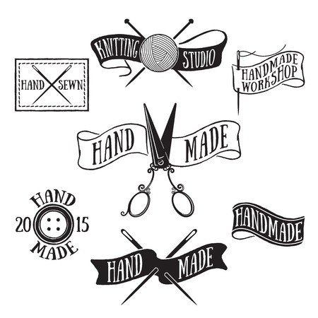 Hand drawn set of vintage handmade labels and logo elements, retro symbols for local tailor shop, knit studio, handcrafted company.