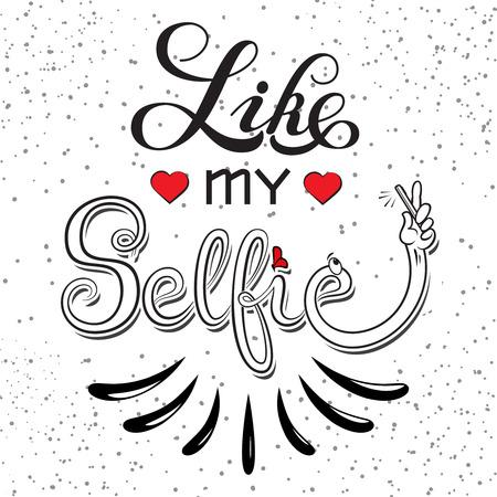 手には、ベクター グラフィックが描画されます。ような私の selfie 動機の引用。  イラスト・ベクター素材