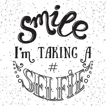 手には、ベクター グラフィックが描画されます。笑顔 selfie 動機引用を取っています。  イラスト・ベクター素材
