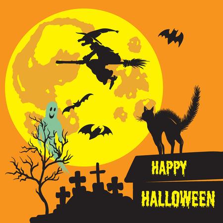 飛ぶ魔女、幽霊、おびえた猫、満月、墓地、コウモリとハロウィンの背景。  イラスト・ベクター素材