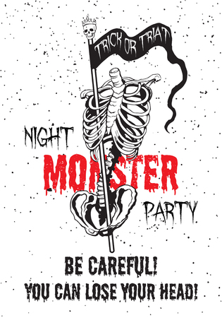 flower  hand: Hand drawn skeleton with banner. Night monster party poster.