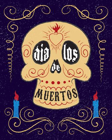 手描き下ろしメキシコ砂糖の頭蓋骨。死んだポスターの Dia デ ロス ムエルトス日。