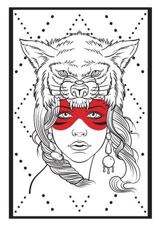 indio americano: Muchacha americana nativa con headdress.Tattoo lobo o diseño de la camiseta.