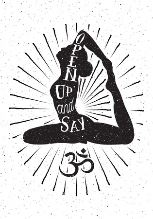sanskrit: Hand drawn vector illustration.Inspired typography poster with yoga woman and OM symbol.