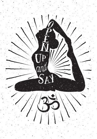 simbolo de la mujer: Mano vector dibujado illustration.Inspired cartel de la tipografía con la mujer de la yoga y el símbolo de OM.