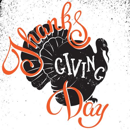 感謝祭の日の手描きのレタリング ポスター。グリーティング カード、ポスター印刷招待状に孤立したタイポグラフィ デザイン要素をベクトルしま  イラスト・ベクター素材