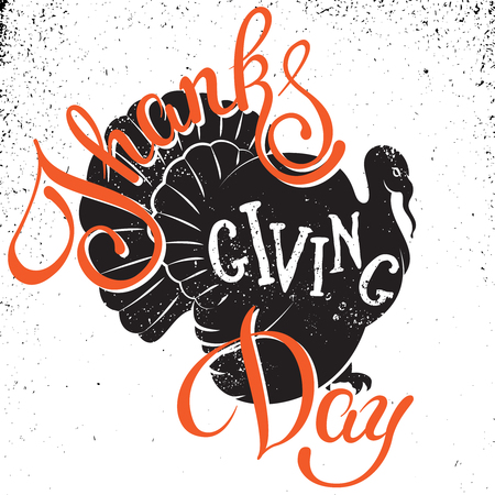 indian happy family: Thanksgiving Day hand drawn lettering poster.Vector isolated typography design element for greeting cards, posters and print invitations. Illustration