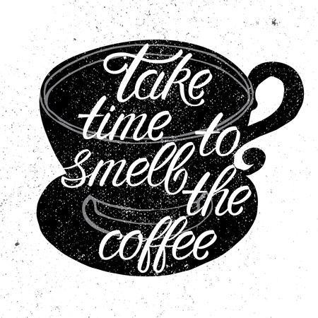 手のコーヒー カップ シルエットの描画ベクトル イラストとフレーズ コーヒーのにおいに時間がかかる。グランジ効果タイポグラフィ ・ レタリン  イラスト・ベクター素材