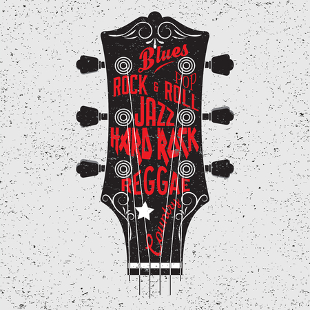 retro music: Hand drawn illustration with with a guitar head and lettering. Typography concept for t-shirt design or home decor element.