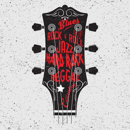 gitara: Ręcznie rysowane ilustracji z gitary z głowy i liternictwa. Koncepcja Typografia dla t-shirt projektowania lub elementu wystrój domu.