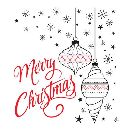 メリー クリスマス手レタリングとレトロなポスター。雪の結晶と星の背景のクリスマスの装飾。グリーティング カードやポスター、印刷用イラスト