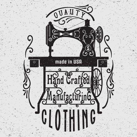 maquinas de coser: Mano cartel de la tipografía dibujada con la máquina de coser de la vendimia. Para la insignia taller de costura, diseño de camisetas o carteles.