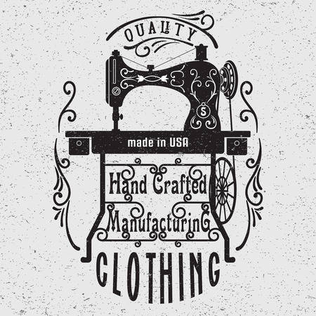 Hand drawn typography poster with vintage sewing machine. For sewing studio logo,T-shirts design or posters.