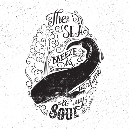 Hand getrokken illustratie met met een walvis en belettering. De zeewind is parfum voor mijn ziel. Typografie concept voor t-shirt ontwerp, huis decor element of posters. Stock Illustratie