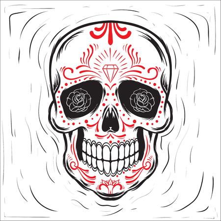 mexican art: Mexican sugar skull. Dia de los Muertos-Day of the Dead block print effect illustration.