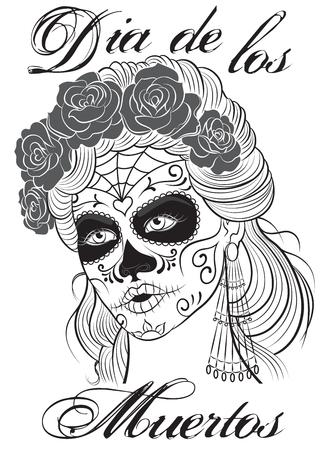 mujer con rosas: D�a de los Muertos-D�a de la muchacha muerta. Maquillaje del cr�neo del az�car. Ilustraci�n del arte L�nea.