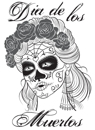 gothic woman: Dia de los Muertos-Day of the Dead girl. Sugar skull makeup. Line art illustration.