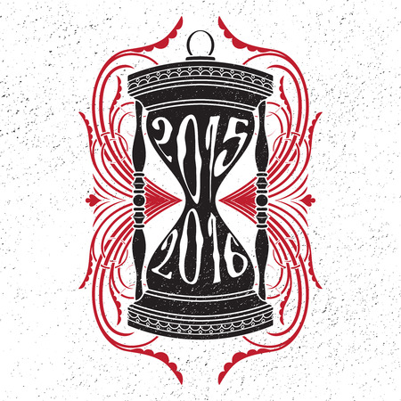 新年分離タイポグラフィ デザイン要素。2015 の碑文と砂時計シルエットは、2016 年に流出します。渦巻き背景。グリーティング カード、ポスター、  イラスト・ベクター素材