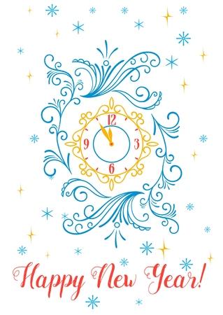幸せな新年のグリーティング カードやポスター デザイン。雪の結晶と星の背景のスクロール飾りビンテージの時計。