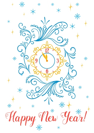 12 month old: Happy new year greeting card or poster design. Vintage clock with scroll ornament on snowflakes and stars background. Illustration