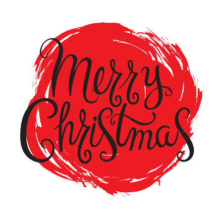 Hand drawn calligraphic design Merry Christmas greeting.Text lettering for invitation and greeting card, prints and posters.