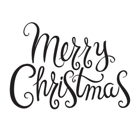 手描きデザイン書道メリー クリスマスの挨拶を交わした。招待状やグリーティング カード、版画、ポスターのテキスト文字。  イラスト・ベクター素材