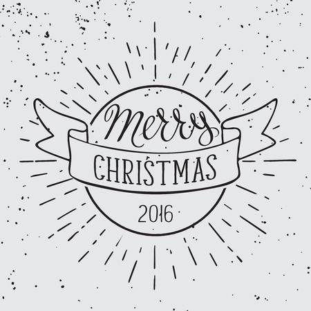メリー クリスマス手は、イラストを描かれました。グランジ背景上のレタリングそして装飾的なデザイン要素です。招待状やグリーティング カード  イラスト・ベクター素材